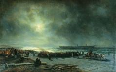 Боголюбов А. П. Гибель фрегата «Александр Невский» (Вид ночью). 1868 год