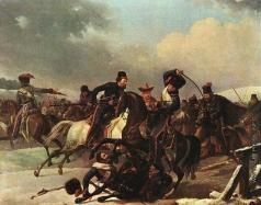Дезарно А. О. Стычка легкой русской конницы с французскими гусарами