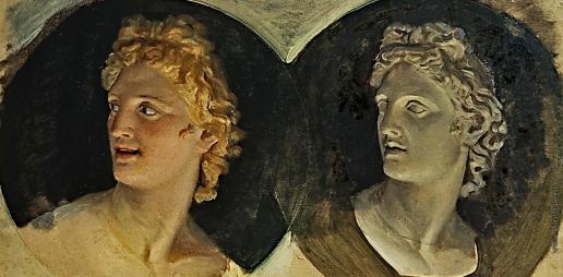 Иванов А. А. Голова улыбающегося Аполлона и голова Аполлона Бельведерского (с гипса)