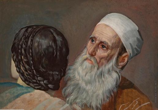 Иванов А. А. Голова назарея и голова старика в белой повязке, в повороте головы старика в чалме