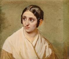Иванов А. А. Голова женщины на зеленоватом фоне для группы правой части картины