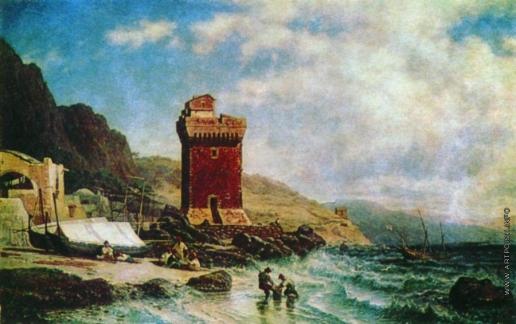 Боголюбов А. П. Гористый морской берег с крепостными башнями