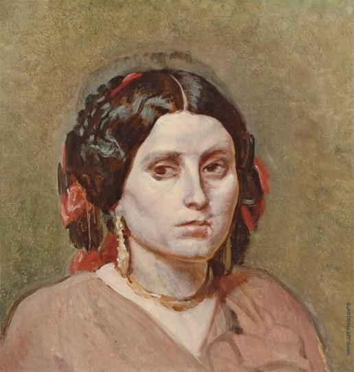 Иванов А. А. Голова молодой женщины с серьгами и ожерельем на темно-оливковом фоне, в повороте головы Христа
