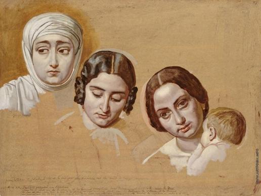 Иванов А. А. Три женские головы (правая - голова женщины с ребенком)