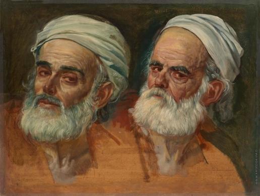 Иванов А. А. Две головы в чалмах, в повороте головы прислушивающегося