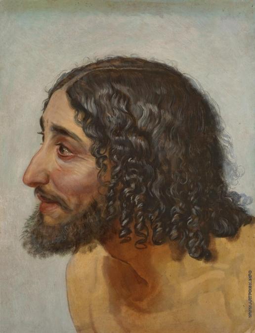 Иванов А. А. Мужская голова, в повороте головы дрожащего, надевающего рубашку