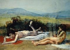 Иванов А. А. Два лежащих на красных и белых драпировках обнаженных мальчика на фоне пейзажа и намеченная фигура третьего, стоящего мальчика