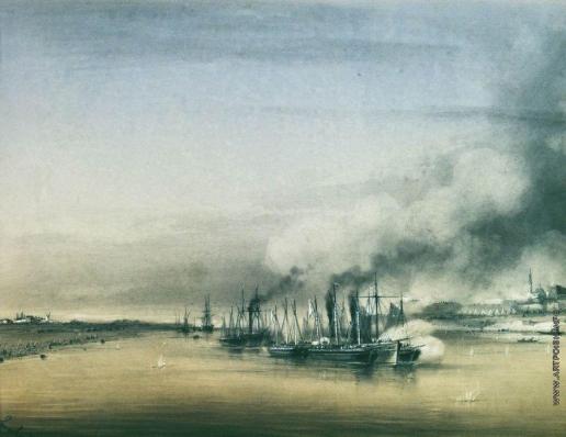 """Боголюбов А. П. Действия парохода """"Ординарец"""" и восьми канонерских лодок против крепости Исакчи. 1854 год"""