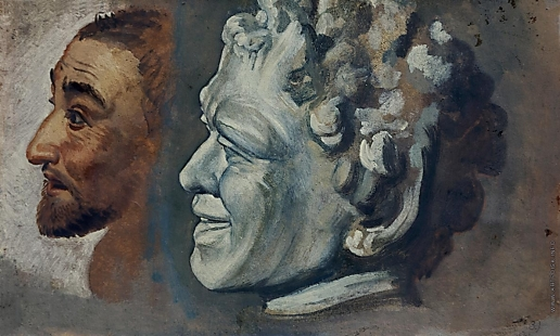 Иванов А. А. Голова фавна и мужская голова, в повороте головы дрожащего. На обороте -Орфей