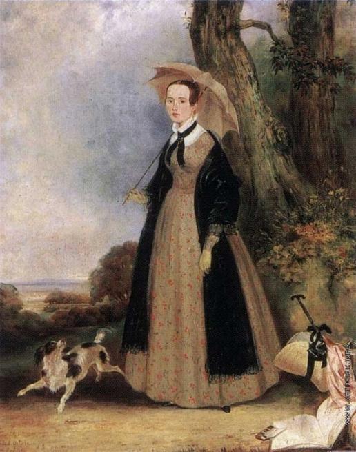 Голике В. А. Портрет неизвестной, гуляющей в парке