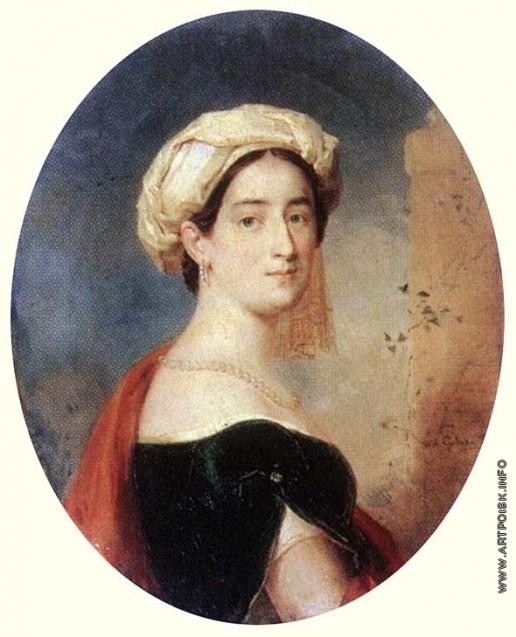 Голике В. А. Портрет неизвестной в тюрбане и зеленом платье