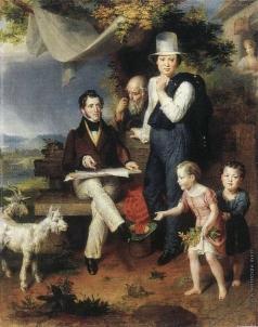 Голике В. А. Автопортрет с семьей и с Джорджем Доу