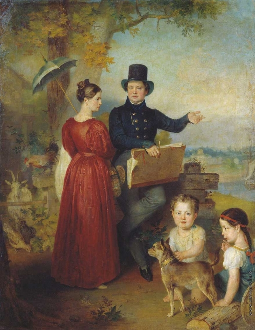 Голике В. А. Автопортрет с женой и детьм