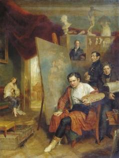 Голике В. А. В мастерской художника В.А. Голике