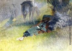 Гагарин Г. Г. Турок, отдыхающий под деревом. Этюд