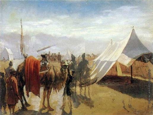 Гагарин Г. Г. Лагерь у второй Муганлинской переправы через реку Алазань