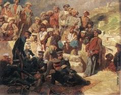 Гагарин Г. Г. Офицеры на привале в ауле Сиук (Сиух) в Дагестане