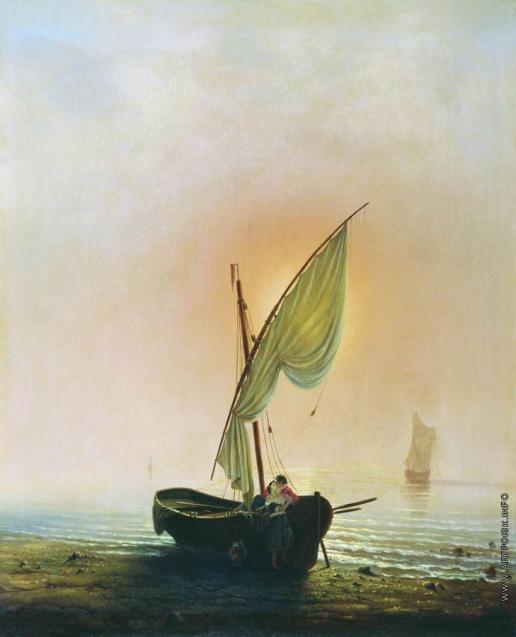 Боголюбов А. П. Закат (Лодка с парусом у берега моря)