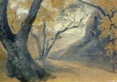 Гагарин Г. Г. Горный пейзаж с деревьями