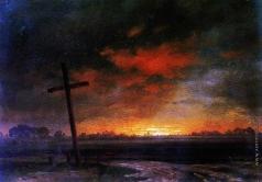 Воробьев С. М. Вид в Литве. Пейзаж с крестом