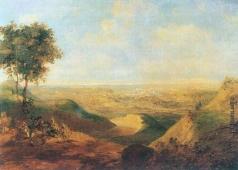 Воробьев М. Н. Пейзаж с городом Гродно на дальнем плане