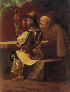 Брюллов К. П. Рыцарь с монахом (За кубком)