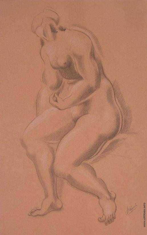 Архипенко А. П. Сидящая обнаженная с левой рукой на правой ноге