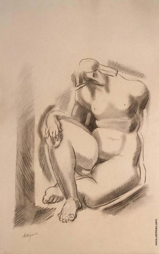 Архипенко А. П. Сидящая обнаженная с согнутой левой ногой