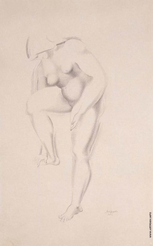 Архипенко А. П. стоящая обнаженная, трогающая правую ногу