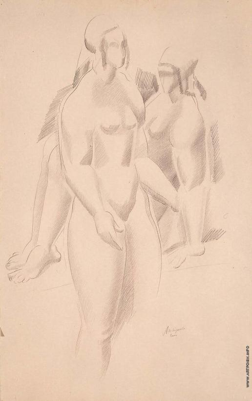 Архипенко А. П. Две обнаженные фигуры (Стоящая и сидящая)