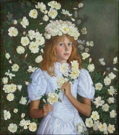 Федорова Т. С. Романтический портрет с белыми розами