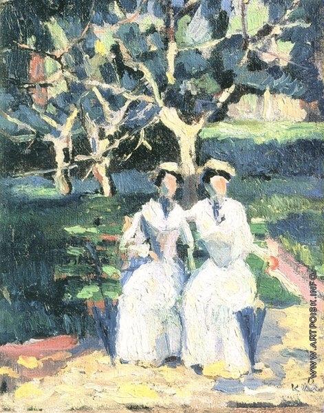Малевич К. С. Две женщины в саду