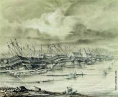 Боголюбов А. П. Кронштадтская военная гавань после наводнения. 1850 год