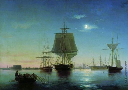 Боголюбов А. П. Кронштадтский рейд с кораблями вечером