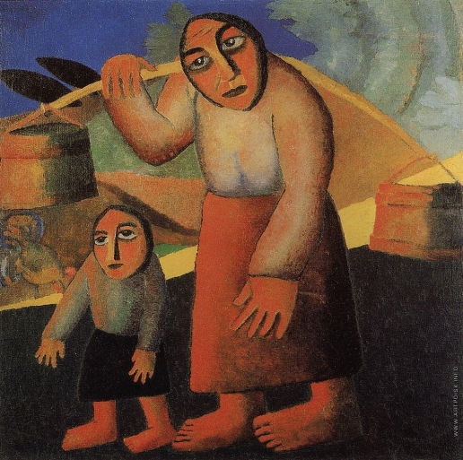 Малевич К. С. Крестьянка с ведрами и ребёнком