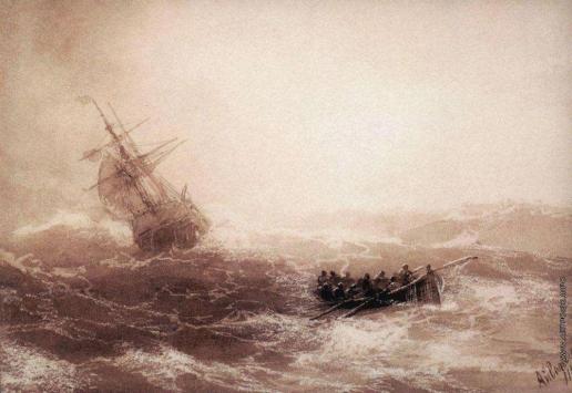 Айвазовский И. К. Буря. Прощание с кораблем