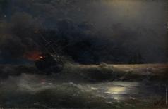 Айвазовский И. К. Горящий корабль