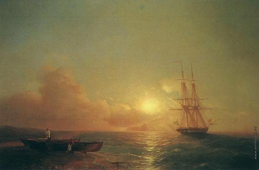 Айвазовский И. К. Двадцатишестипушечный корабль в виду берега