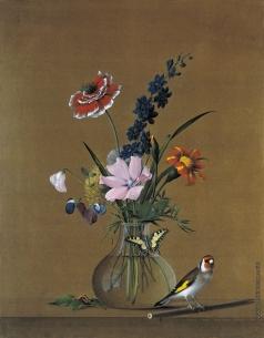 Толстой Ф. П. Букет цветов, бабочка и птичка