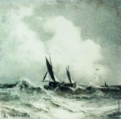 Боголюбов А. П. Морской пейзаж с парусником