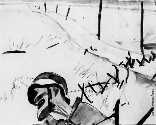 Дейнека А. А. Мертвый солдат на фоне разбитых заграждений. Иллюстрация к книге Анри Барбюса «В огне»