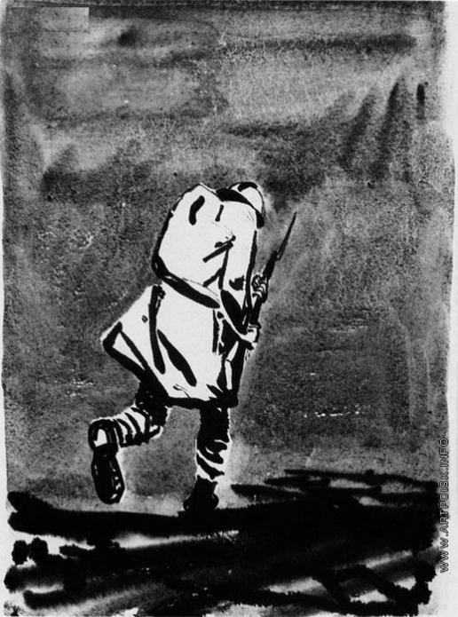Дейнека А. А. Фигура солдата с винтовкой в руках уходящего вдаль с поникшей головой. Иллюстрация к книге Анри Барбюса «В огне»