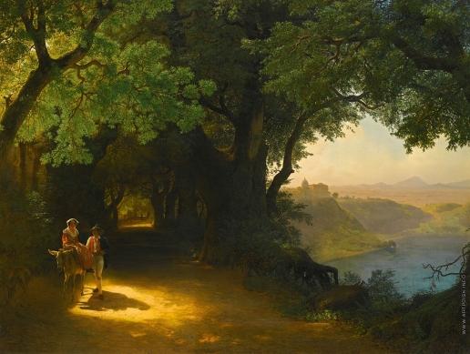 Лагорио Л. Ф. Вид на замок Гандольфо и озеро альбано