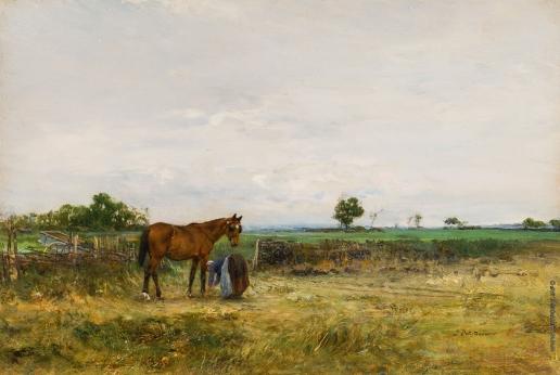 Похитонов И. П. Запрягает лошадь