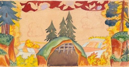 Кустодиев Б. М. Эскиз декорации для постановки «Петушок – Золотой гребешок»