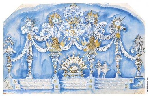 Добужинский М. В. Эскиз декорации к спектаклю «Спящая красавица»