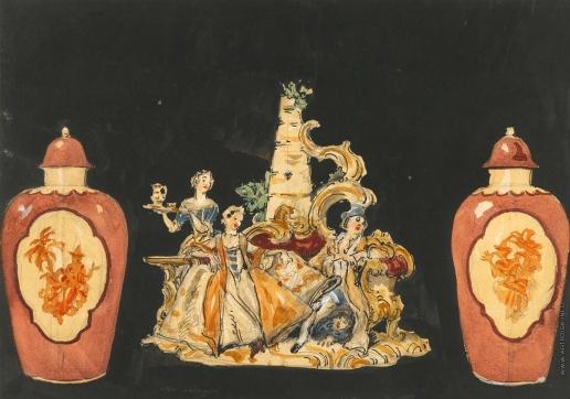 Бенуа А. Н. Эскиз занавеса для постановки «Свадьба Фигаро»
