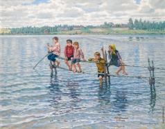 Богданов-Бельский Н. П. Дети на озере в Леттгалии