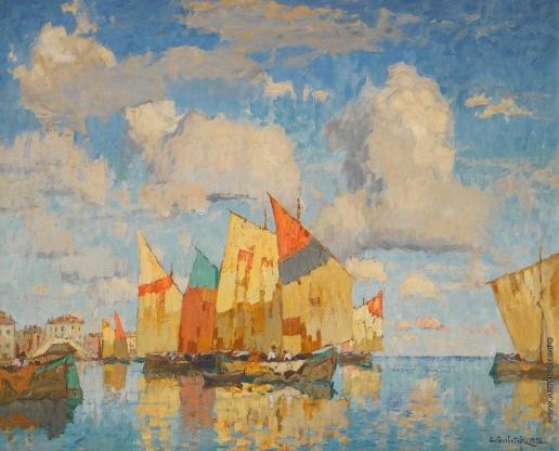 Горбатов К. И. Лодки в гавани