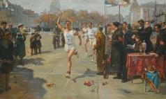 Цветков В. А. Финиш пробега в Ленинграде, посвященного борьбе за мир